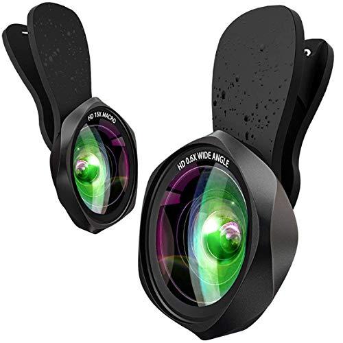 スマホレンズ クリップ式 0.6倍広角レンズ 15倍マクロレンズ 180°魚眼レンズ 高画質カメラレンズキット 自撮り ワイド 接写 スマホ用カメラレンズセット iphone Android全機種対応 簡単装着 携帯レンズ 2in1(広角+マクロ)