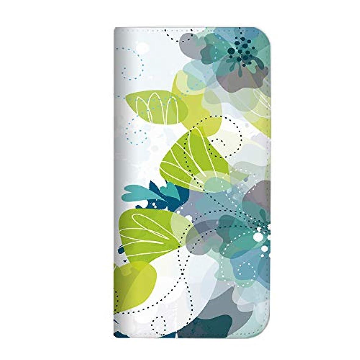 ぼかす特許のスコアmitas ZenFone 5 ZE620KL ケース 手帳型 ベルトなし 花 花柄 花がら フラワー ブルー (391) NB-0068-BU/ZE620KL