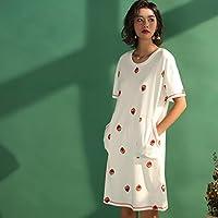 GAODUZI 半袖サマードレスナイトドレス女性甘いかわいいスカートイチゴルーズラージサイズパジャマホームサービス