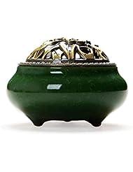 Chinashow セラミック 香 バーナー 香 スティック ホルダー コーン バーナー 磁器 香 ホルダー ホーム 脱落 エメラルド