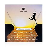 Annis Munn Believe ネックレス - 925スターリングシルバーバーネックレス 「Believe in Yourself」 クリスマス用ジュエリー 誕生日プレゼント 女の子と女性向け