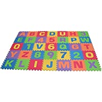 EduShape - ソフト フォーム プレー マット - Edu-Tiles 36 Piece (6 x 6 foot; 1.83m x 1.83m)   Play Mat, Letters & Numbers Set --