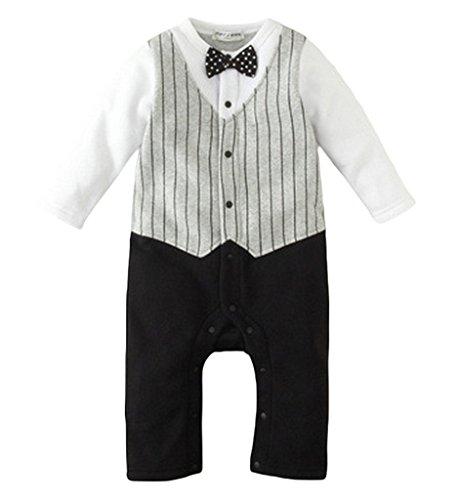 ffce3469217996 (ビグッド)Bigood ベビー 赤ちゃん ジャンプスーツ タキシード風 カバーオール 男の子 ロンパース 出産祝い プレゼント(グレー・90) ベビーの可愛さをより引き立たせ  ...