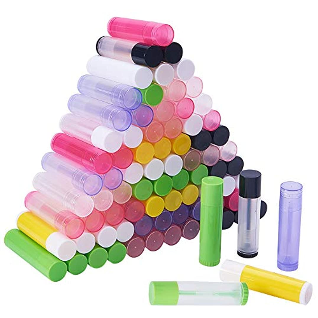 文化ナイロン調子PH PandaHall 約90本 15色 リップ クリーム チューブ 5g容量 回転式 ミニ 詰め替え ボトル 透明&非透明 小分けボトル リップスティック 口紅 包装材料 繰り出し容器 手作りコスメ 混合色
