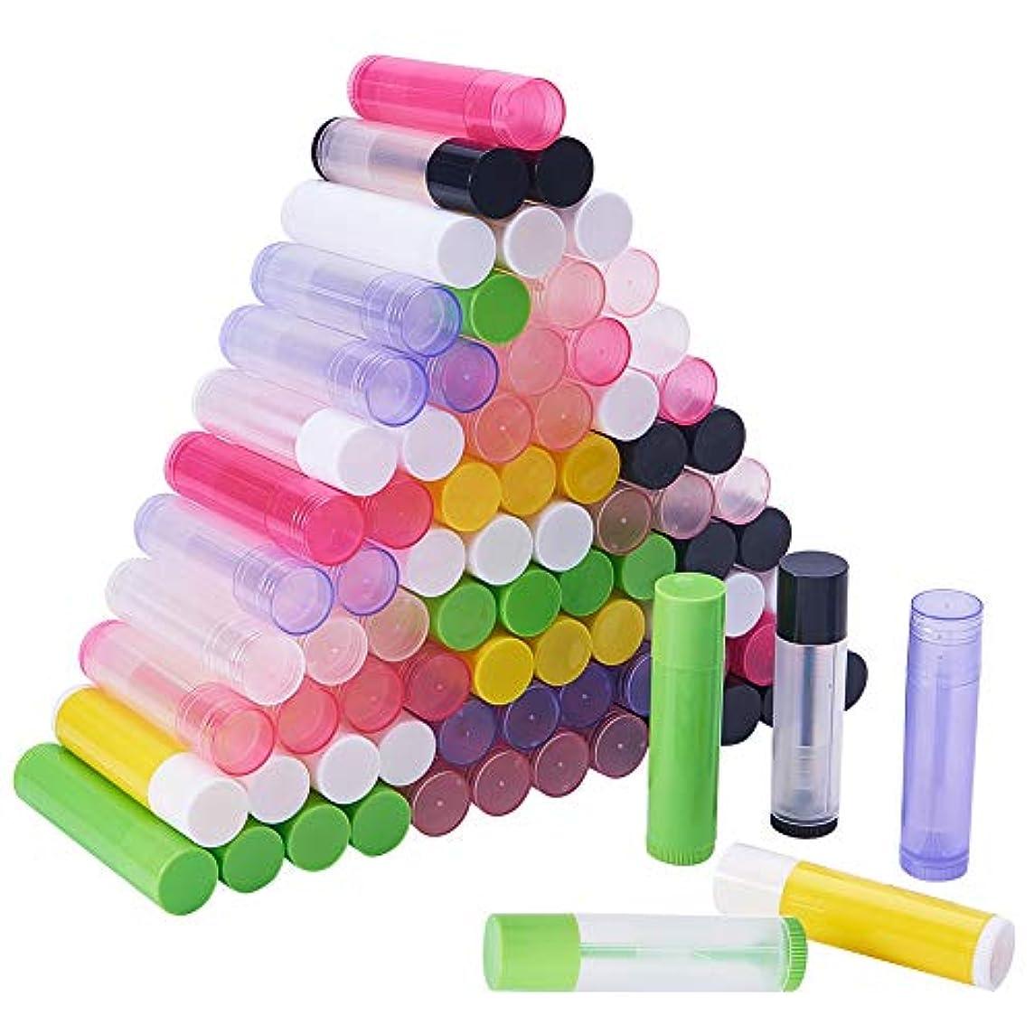 シャベル顔料自我PH PandaHall 約90本 15色 リップ クリーム チューブ 5g容量 回転式 ミニ 詰め替え ボトル 透明&非透明 小分けボトル リップスティック 口紅 包装材料 繰り出し容器 手作りコスメ 混合色