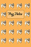 Pug Notes: light orange Notebook | Notepad | Journal With Cute Pug Pattern - 6 x 9 inch