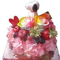 スヌーピー 入り 花  フラワーケーキ レインボーローズ プリザーブドフラワー入り ケース付き ◆スヌーピーカラーはおまかせです
