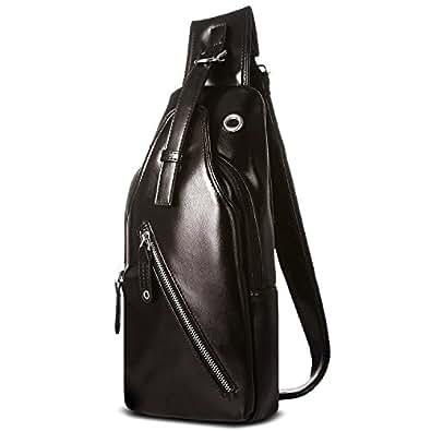 Joggerbises ワンショルダーバッグ 防水機能 レザー メンズ バッグ ボディバッグ 斜め掛けバッグ ショルダーバッグ ブラウン | ボディバッグ・ワンショルダー