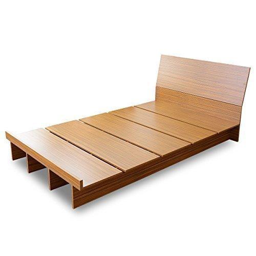(DORIS)ベッドダブルフレームのみ【コモドダブルウォルナット】ロースタイルフロアベッド組み立て式すのこ仕様(KIC)