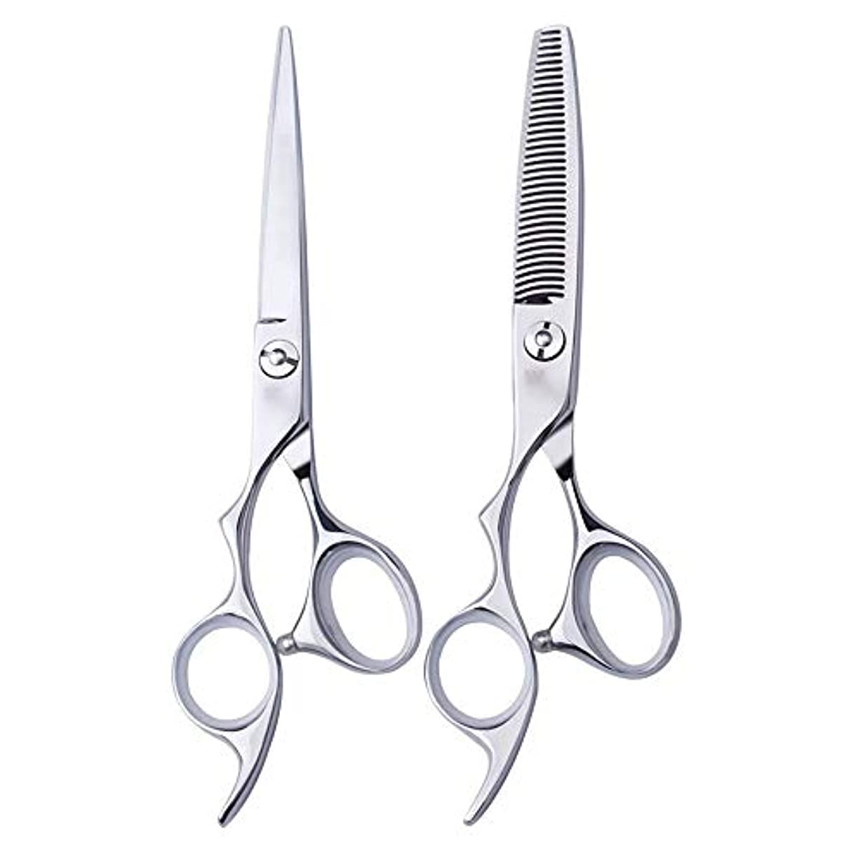 衣装意気込み糸6インチ美容院プロのヘアカット左手はさみ理髪はさみ、左利き用特殊理髪はさみプロの本格的なツール ヘアケア (色 : Silver, Design : Tooth)