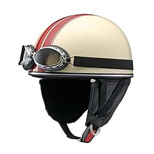 ヤマハ(YAMAHA) バイクヘルメット 半帽 Y-555 クラシック ゴーグル付 FREE(57-59cm) アイボリー&ストライプ Q7C-MRK-Y05-F35
