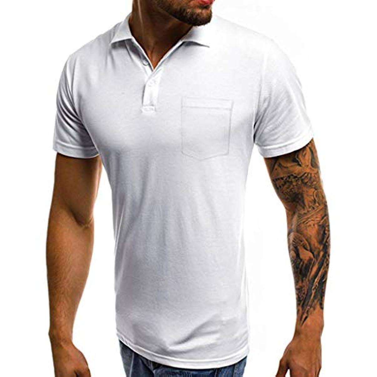 GINNTOKI tシャツ メンズ カジュアル スリム 半袖 ポケット ボタンTシャツ トップ ブラウス ラペルポケット半袖 キャップなし ファッションメンズ (ホワイト, M)
