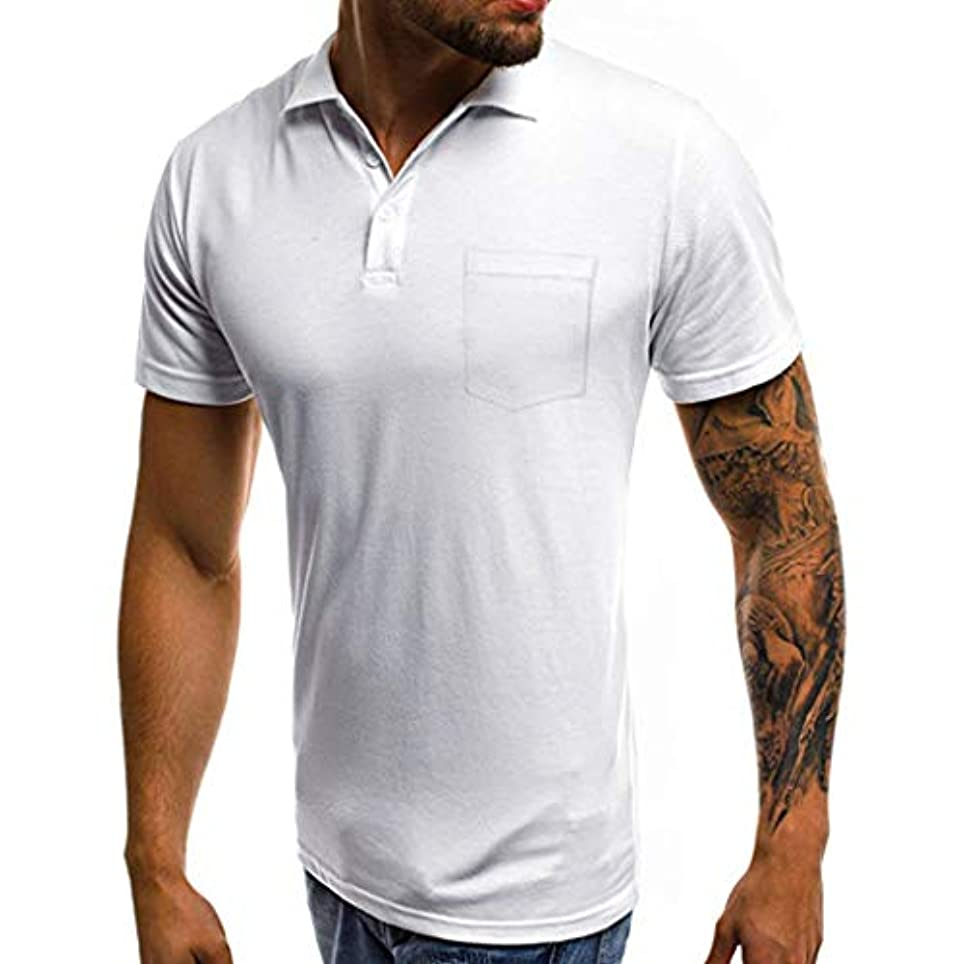 ラリー常習的ながらGINNTOKI tシャツ メンズ カジュアル スリム 半袖 ポケット ボタンTシャツ トップ ブラウス ラペルポケット半袖 キャップなし ファッションメンズ (ホワイト, M)