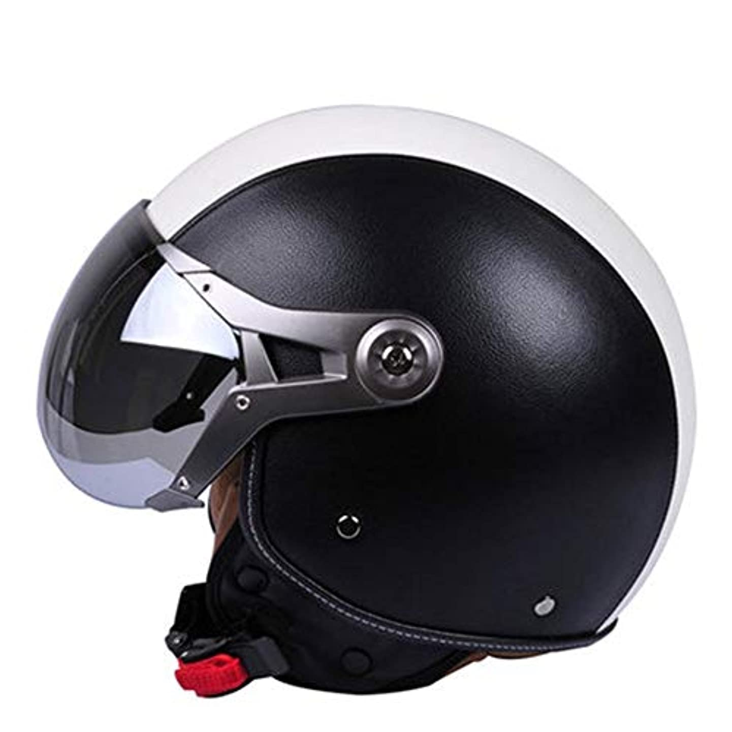 広範囲木製マリンTOMSSL高品質 オートバイのヘルメットの電気自動車の半分のヘルメットの半分覆われた四季の傾向の安全性の人格のヘルメット - 黒と白の革 TOMSSL高品質 (Size : M)