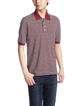 Cotton Pique Stripe Polo Shirt 1117-248-1784: Red