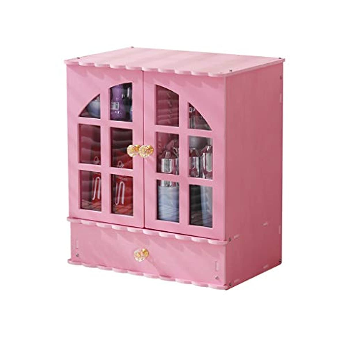 胆嚢半ばアクティブデスクトップ化粧品スキンケア収納ボックスプラスチック収納キャビネットラックかわいい家庭用ドレッシングテーブル化粧箱 (Color : Pink)