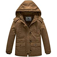 WenVen Boy's and Girl's Winter Parka Coat Thicken Cotton Twill Hooded Jacket