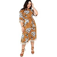 Floerns Women's Casual Floral Long Dress Tassel Self Belted Loose Dress