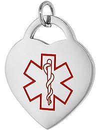 サージカルスチール医療アラート高血圧ネックレスハートシェイプ7 / 8インチ幅、24インチLong