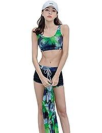 水着 タンキニ 3点セット レディース セパレーツビキニ 紫外線防止 花柄 胸パッド付き ワイヤーなし 水陸両用 紫外線防止 肌守り ビーチ