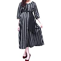 Sweet Mommy Maternity Nursing Cotton Linen Maxi Long Sleeve Dress