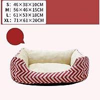 Chaopeng 正方形のペットベッド、縞模様の骨小さな折りたたみ式ソフトコンフォート四季の普遍的な猫のトイレ砂 (Color : Red)