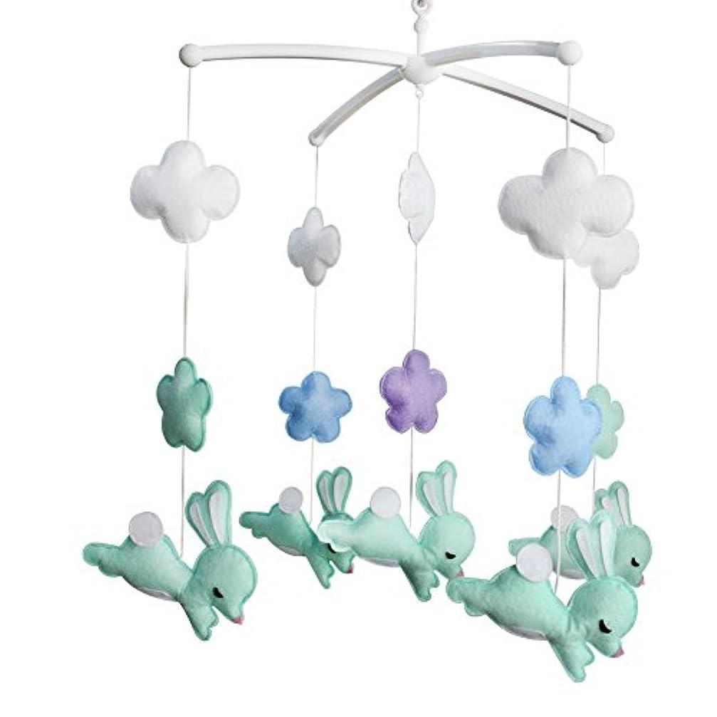 願望退屈なジョージハンブリー手作りの保育園の装飾ギフト、ベビーベッドのモバイル、[ジャンプウサギ+花]