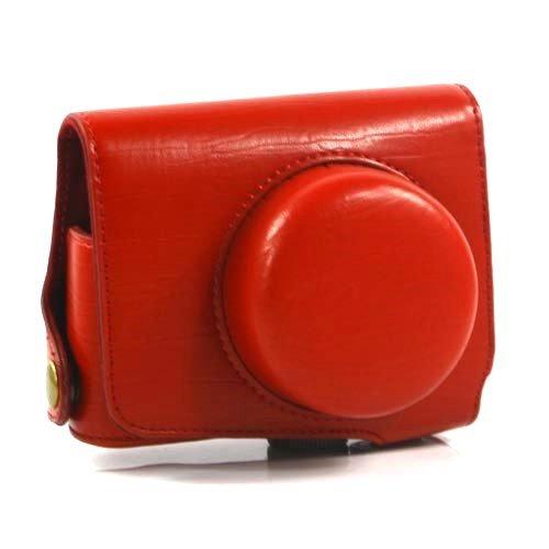 i-Beans【全4色】ニコン 1 J1用カメラケース レトロなPUレザーデジカメケース レッド PU Leather case for Nikon 1 J1 (1902-1)