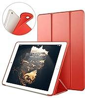 新しいiPad 9.7インチ2018/ 2017ケース、vaghveo軽量三つ折りスタンドスマートケース[自動スリープ/スリープ解除]ソフトTPUバックカバーfor Apple iPad 6th / 5th世代(a1893/ a1954/ a1822/ a1823) レッド VAGHVEOCASE-QXipad2018-RD