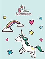 I Love Unicorn Notebook: Unicorn in Love on Green Cover and Dot Graph Line Sketch Pages, Extra Large (8.5 X 11) Inches, 110 Pages, White Paper, Sketch, Notebook Journal