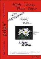 pripa 50枚のフォト用紙A4 115 g/qm-光沢(光沢のある)インスタントドライおよび耐水性 - 鮮やかな白 - 高光沢、インクジェットプリンター用