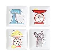 小型 正方形 ストーンウェア 前菜皿 - キッチン用品 | 4インチ x 4インチ - 4枚セット
