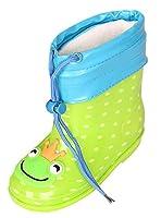 [Y-BOA] 子供 長靴 雨靴 レインブーツ ラバーブーツ レインシューズ フード付き 取り外し キッズ ジュニア 女の子 男の子 かわいい 防水 防寒 雪遊び カエル 19cm