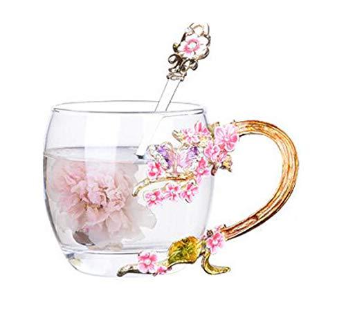 YBK Tech 上品 エナメル ガラスマグ ティーカップ 耐熱ガラス クリスタル ラスティーカップ ハンドル付き ホットビバレッジ、アイスティー、姉妹、ママ、おばあちゃん、教師に最適なギフト - 紫色の蝶とピンクの梅 (短い (320ml) ギフトボックス付き)