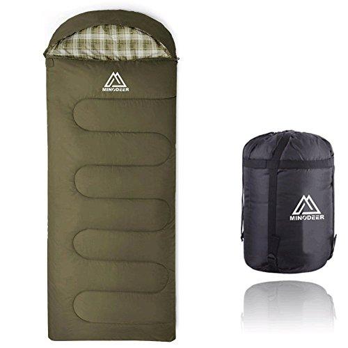 寝袋 封筒型 軽量 sleepingbag アウトドア 登山 車中泊 丸洗い 夏用 冬用 3色選択可能 収納袋付き (Green/1.4kg)