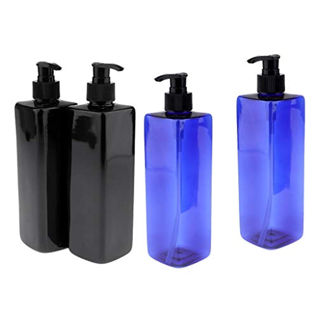 冷凍庫キャンディー持続的Injoyo ポンプボトル 容器 大容量 500ml ローション シャンプー ボディウォッシ 2種選択でき - 黒+青