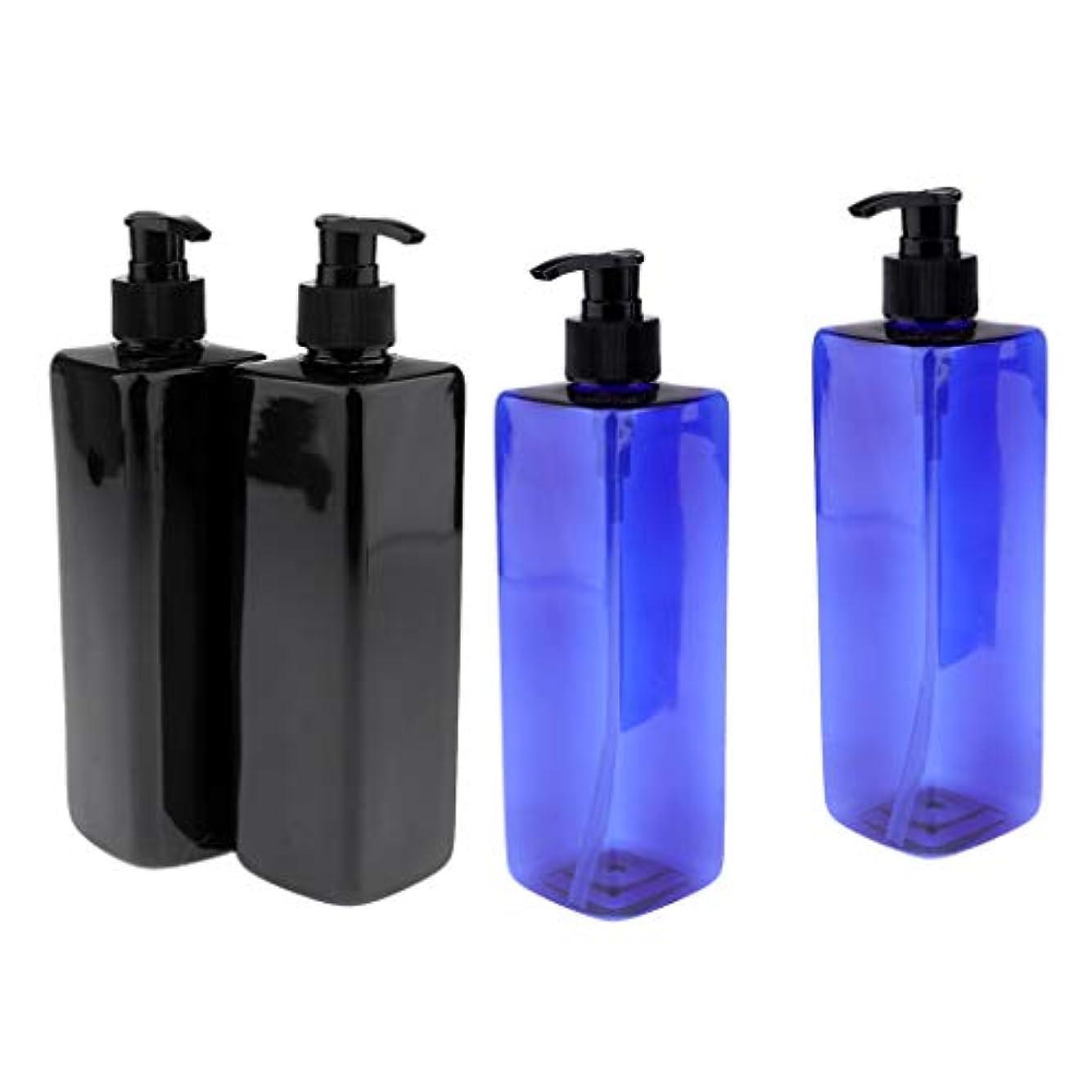 優先権消す旅Injoyo ポンプボトル 容器 大容量 500ml ローション シャンプー ボディウォッシ 2種選択でき - 黒+青