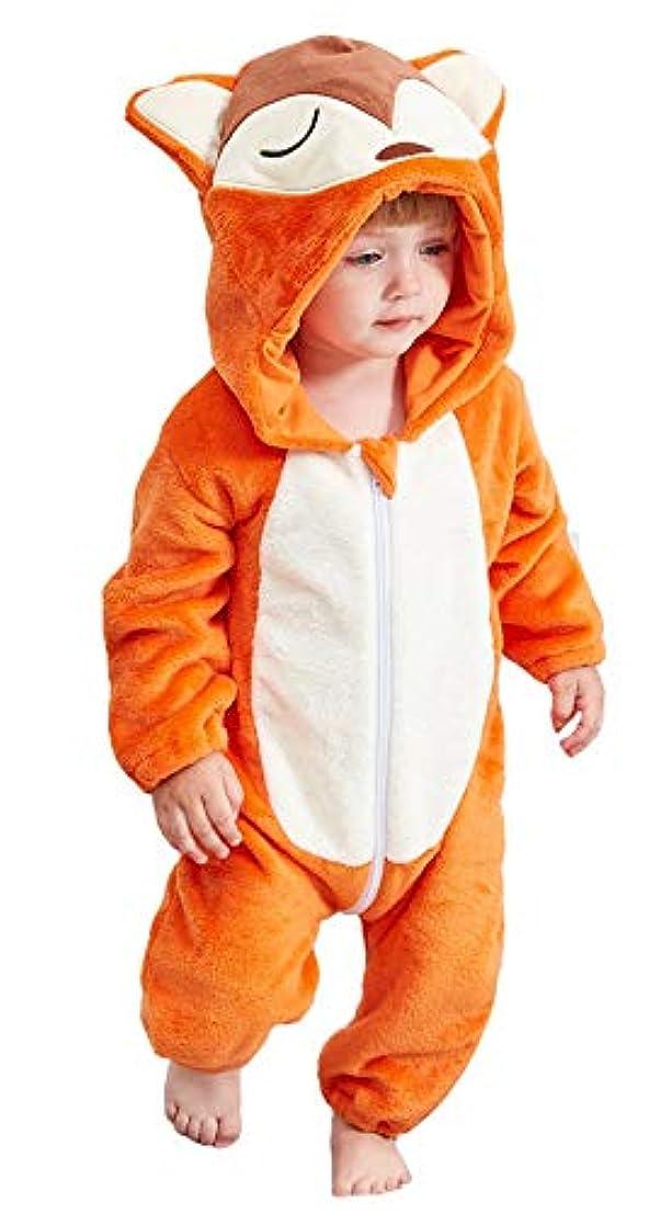 振動させる検索経度(コ-ランド) Co-land ベビー ロンパース 着ぐるみ 可愛い あったか アニマル カバーオール キッズ コスチューム 防寒着 出産祝い 男の子 女の子 フード付き 90 オレンジ