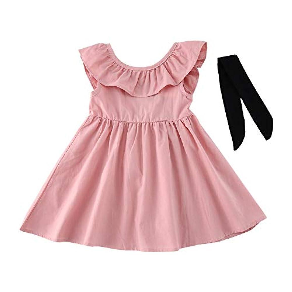 冷凍庫とんでもないしてはいけないファッショナブルな赤ちゃん子供の女の子ノースリーブワンピースドレス無地バックレス蝶結びチュチュドレス夏服ドレス-ピンク130 cm