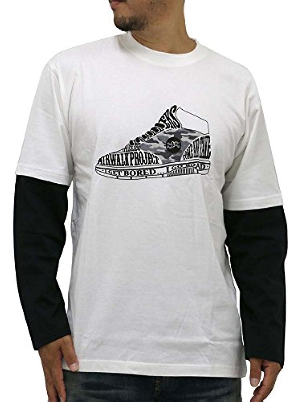 測定空白地下室[エアウォーク] 大きいサイズ メンズ Tシャツ ブランド 長袖 ロンT シューズプリント フェイクレイヤード