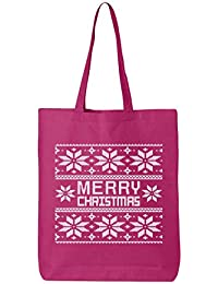 shop4ever Merry Christmas Snowflakeコットントートバッグクロスステッチ再利用可能なショッピングバッグ6 oz Eco 12 oz ピンク S4E_1215_MerrySnowFl_TB_QTBG_H...