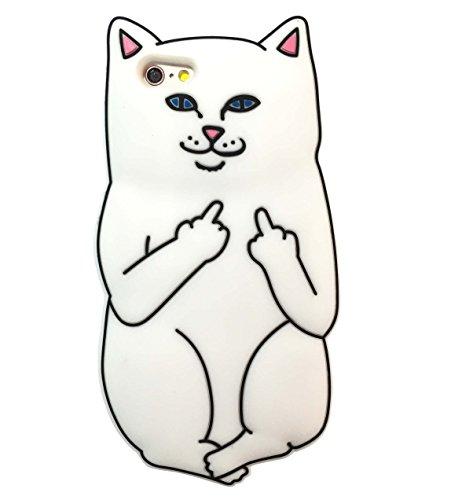 C-ATA アイフォン ケース iPhone 猫柄 シリコンケース アニマル プニ スマホ 保護 キャラクター 猫 2カラー (iPhone6/6S, ホワイト)