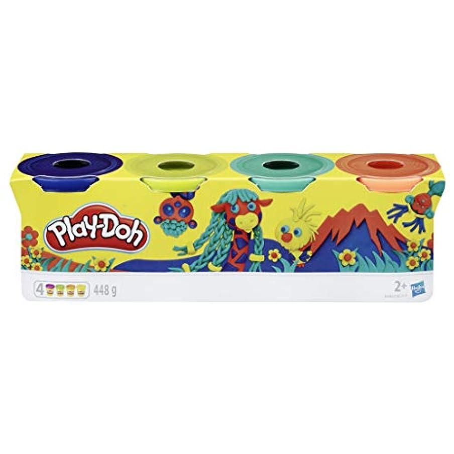 Play-Doh Hasbro E4867ES0ワイルド、4枚組、ダークブルー、ライムグリーン、ターコイズ、オレンジ