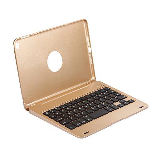 HEXIN iPad mini4 カバー Bluetooth キーボード 合体型 のクラムシェルデザイン オートスリープ スタンド機能あり ワイヤレス bluetoothキーボード かっこいい ABS樹脂材質のキーボード (ゴールド)