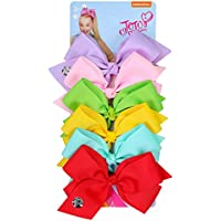 INS Girls JOJO Siwa Large Hair Bows With Clips,5Inch Grosgrain Bowknot Hairpins 6pcs/set/card JH08