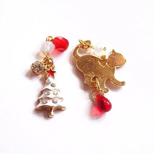 [해외]Cat `s Love Potion 고양이 화이트 크리스마스 트리 수지 논호루삐아스 귀걸이/Cat`s Love Potion Cat White Christmas tree resin Non-Hole Piercing Earrings
