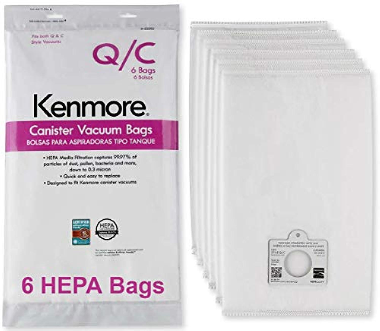 Kenmore HEPA 掃除機用バッグ C Q - Kenmore & Sears スタイル Q/C キャニスター掃除機用バッグ Kenmore 5055、50557、50558にも対応。 部品番号20-53292。 プレミアムHEPA合成バッグ 6枚入り
