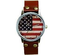 メンズレザー腕時計United Statesアメリカ国旗Watch Patriotic腕時計Bestギフト