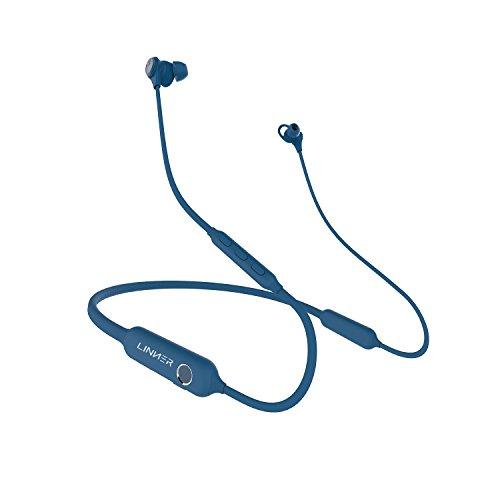 Linner bluetooth イヤホン ネックバンド アクティブ ノイズ キャンセリング ハイレゾ ワイヤレス MIC認証 ブルートゥース 高音質 マイク内蔵 IPX4防水 マグネット搭載 モニターモード付き ハンズフリー通話 iPad iPhone Android多機種対応 ブルー