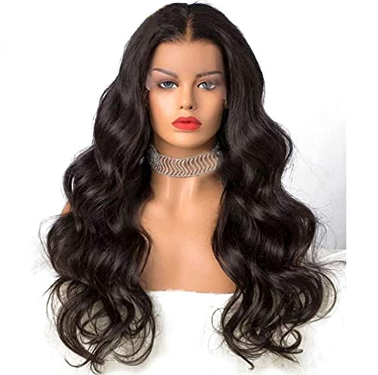 プレゼン堤防力強い女性のかつら150%密度フロントレースカーリー人毛ブラジルの耐熱合成長いかつら